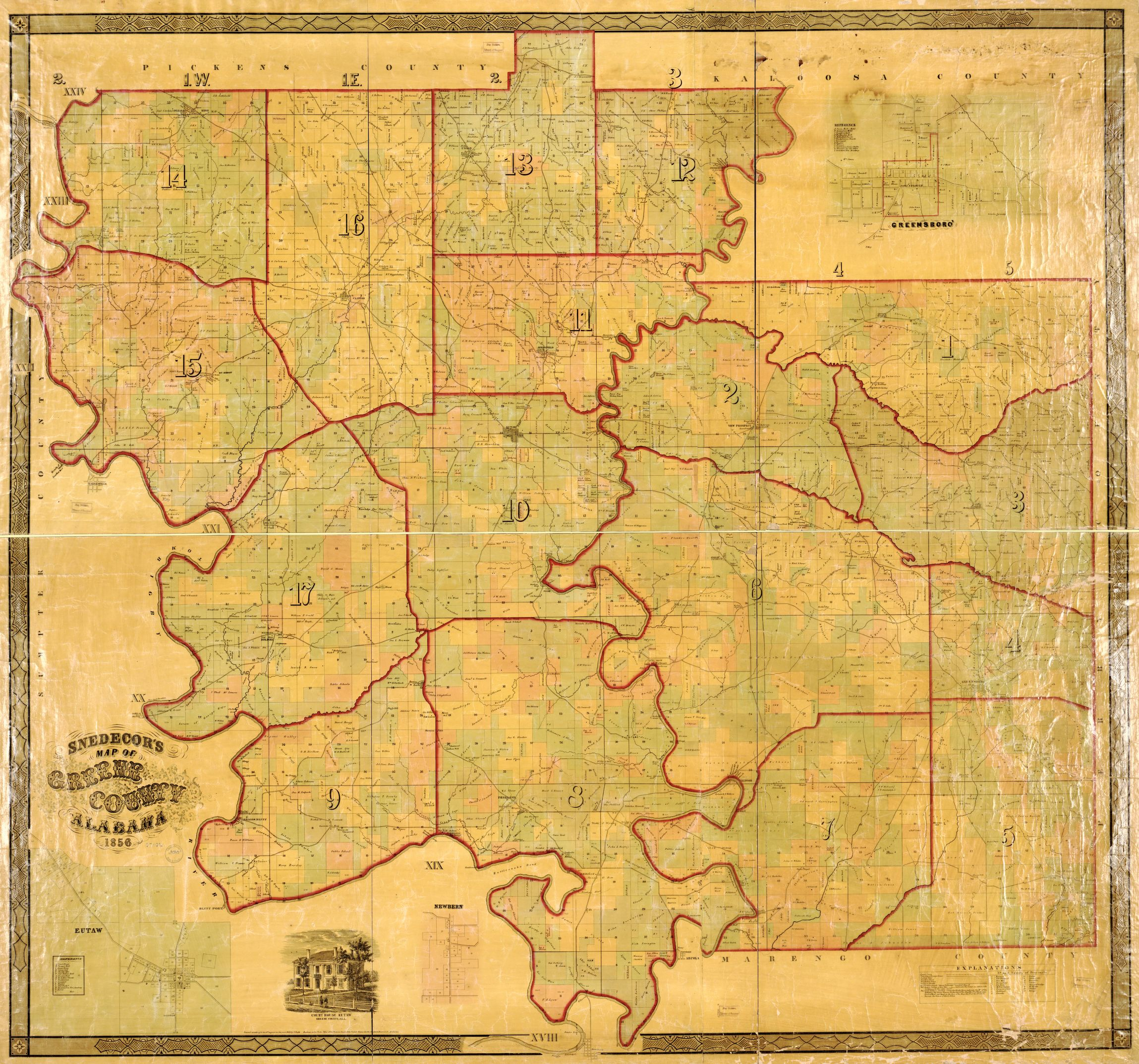 1856 Greene County, AL See District 15 and 13. Map created and published by:  Victoria Gayle Snedecor (1824-1888)