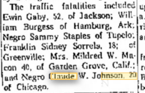 Claude W. Johnson Accident