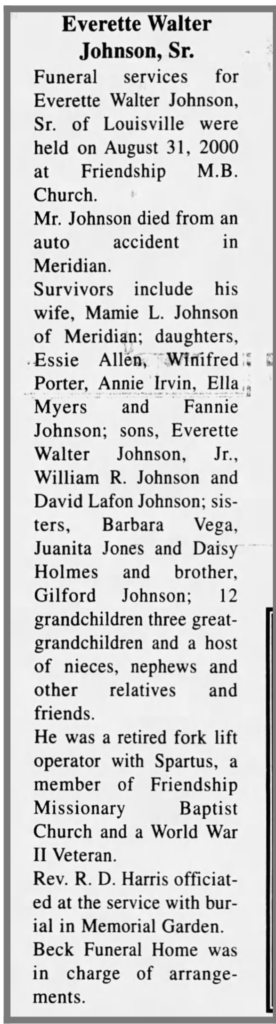 Everette Johnson Obit