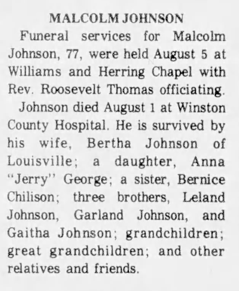 Malcolm Johnson Obit