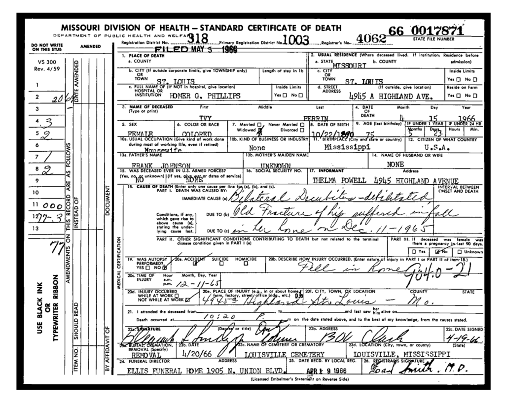 Ivy Johnson Perrin -Death Certificate