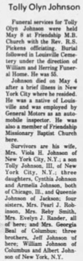 Tolly Olyn Johnso Obit