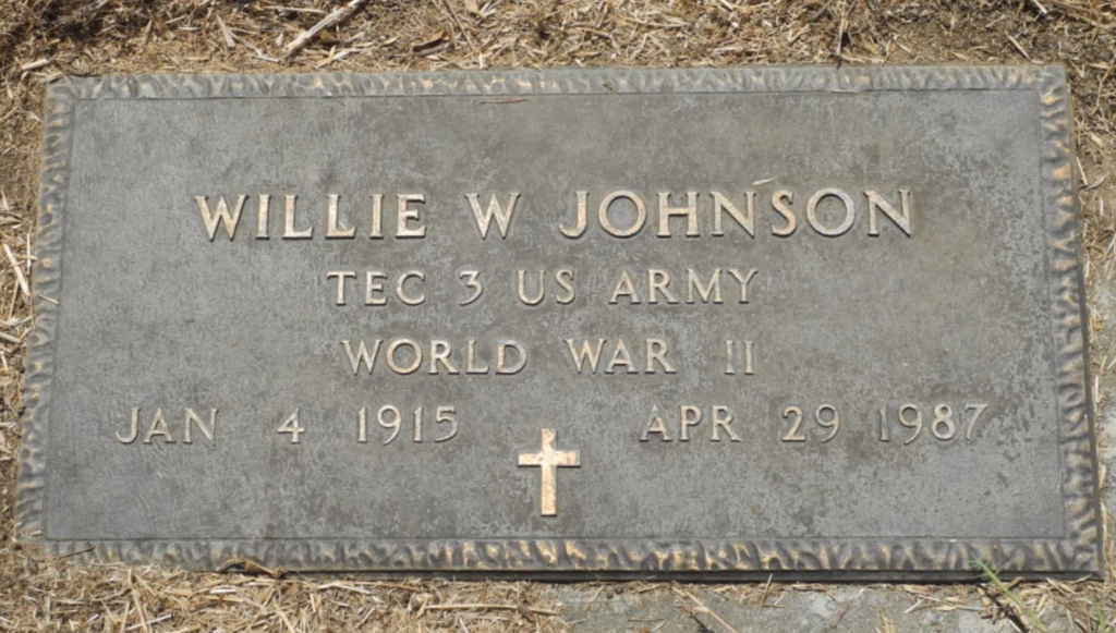 Willie W. Johnson gravemarker