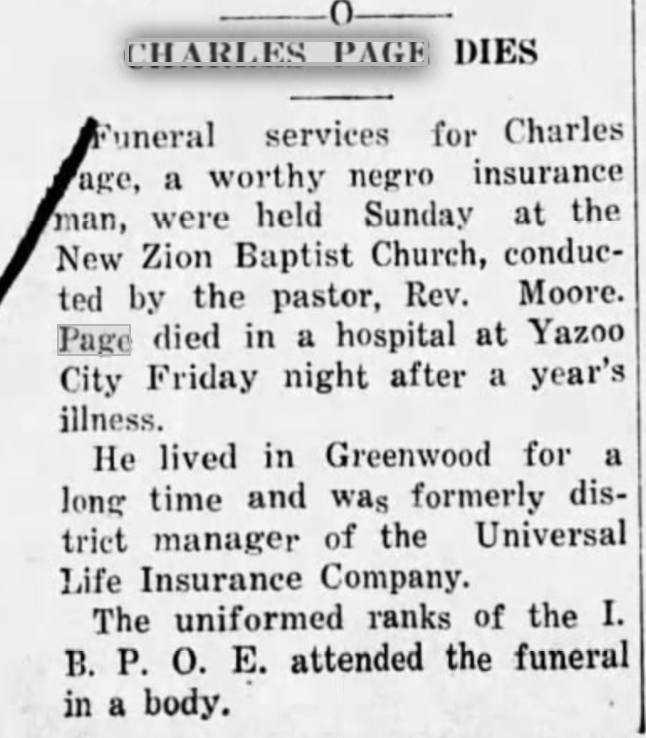 Obit of Husband of Adelia Johnson Page in 1932