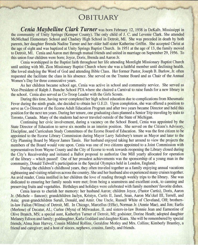 Cenia Maybelline Clark Turner Obituary