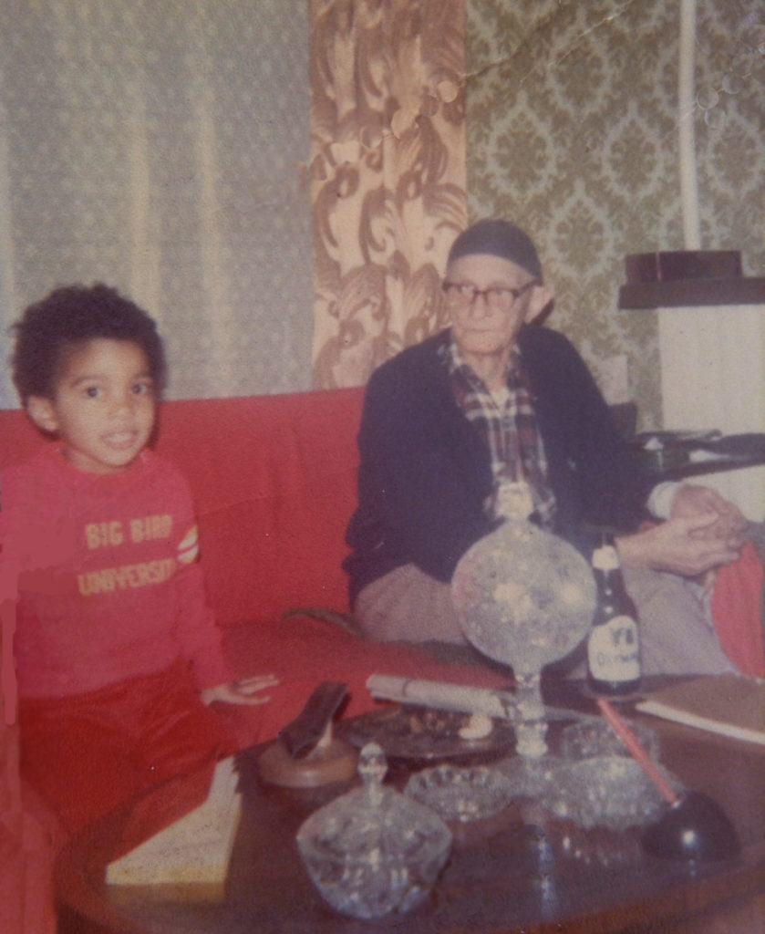 Yusef F. with Great Grandfather Fred Douglas Johnson