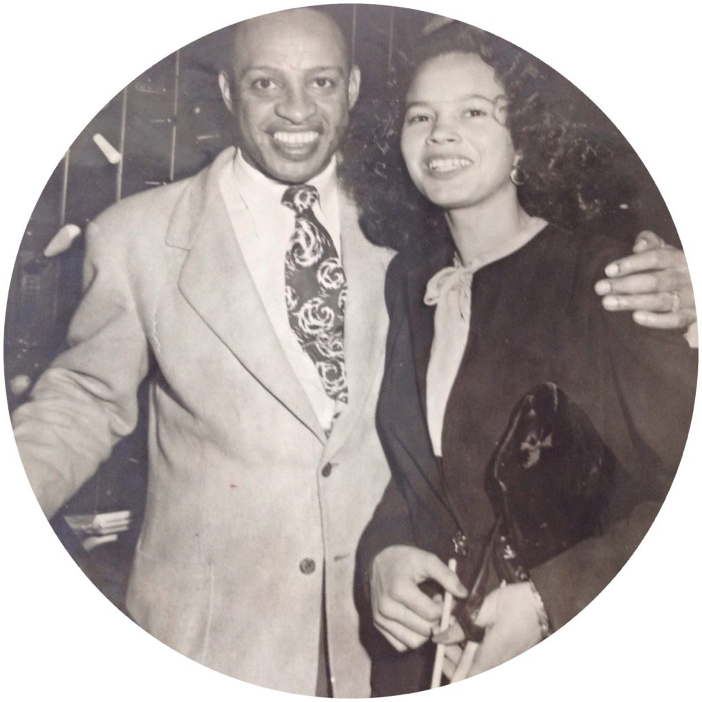 Elaine Johnson Freeman with the great jazz artist Lionel Hampton at a club in St.Louis. Shared by SueAnn