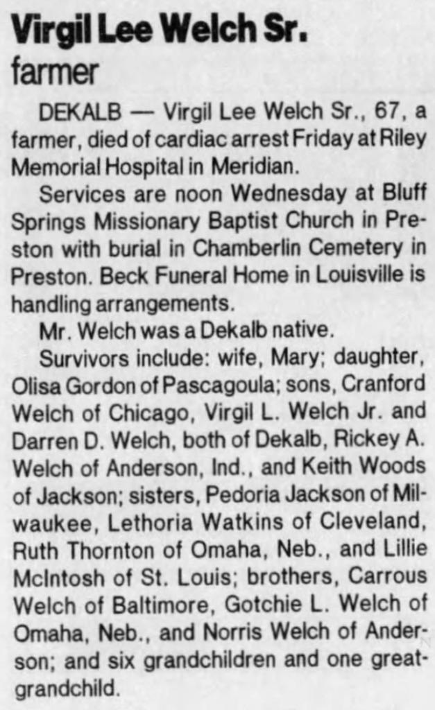 Virgil Lee Welch Sr 1999