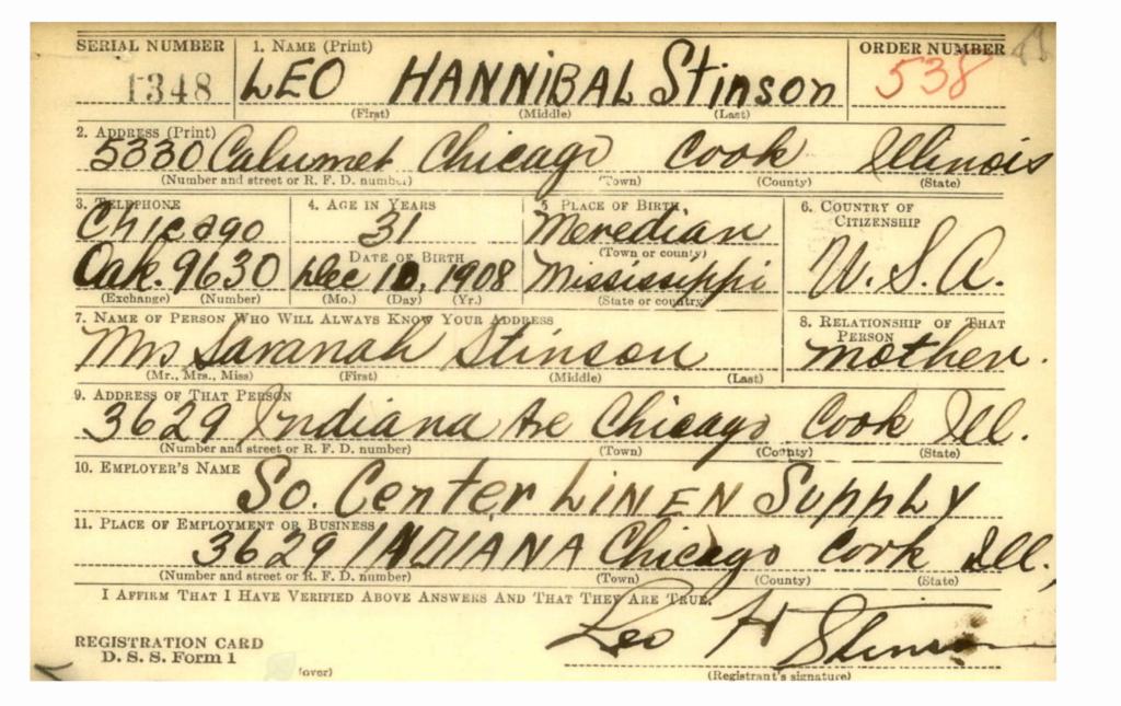 Leo Hannibal Stinson son of Savannah