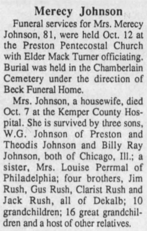 Merecy Johnson 10-7-1991 Winston County Journal
