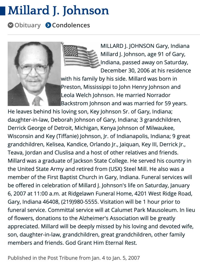 Millard Johnson Obit
