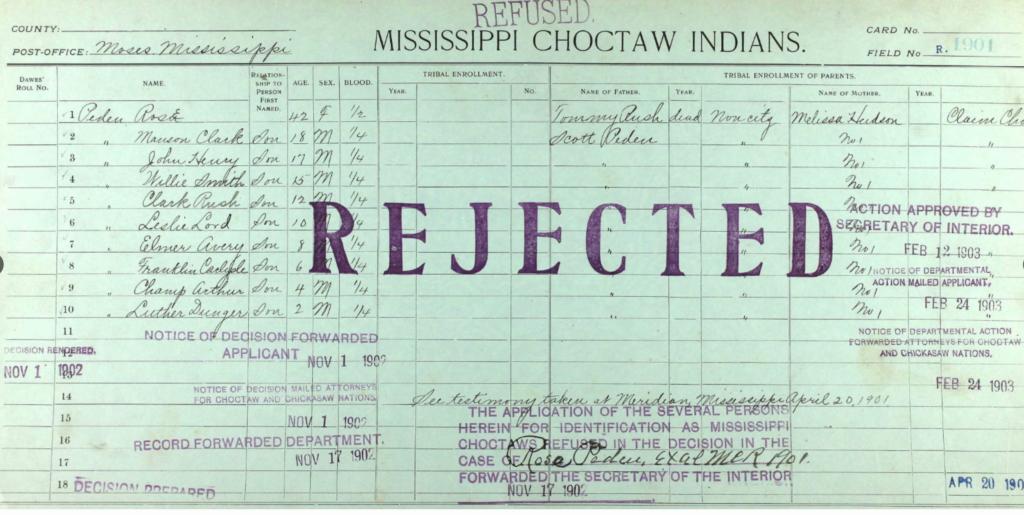 Peden Choctaw Application