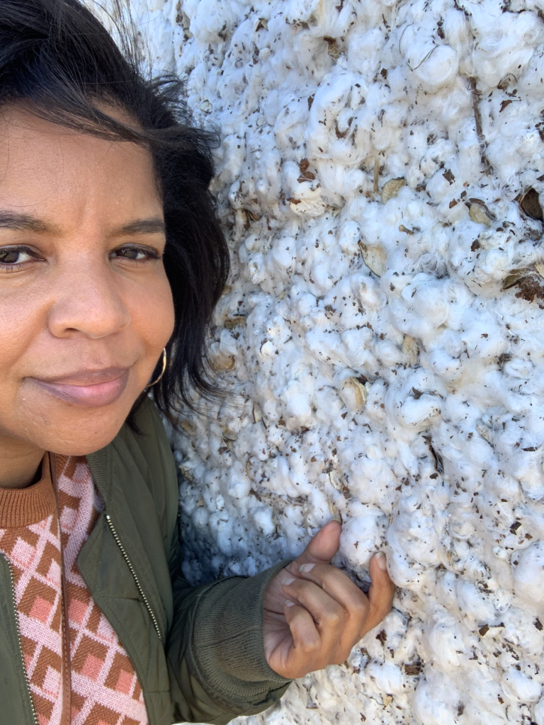 Karen with her first look at cotton in the field