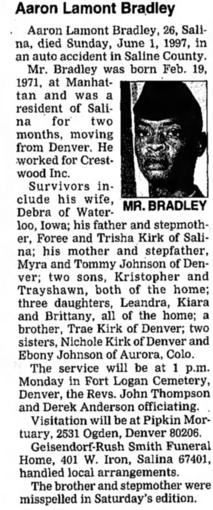 Aaron Bradley Son of Foree Kirk
