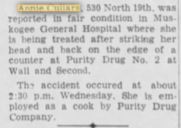 Annie Cullars - Muskogee Times 12-13-1962