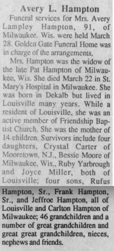 Avery L. Hampton 4-1-1992 Winston Journal