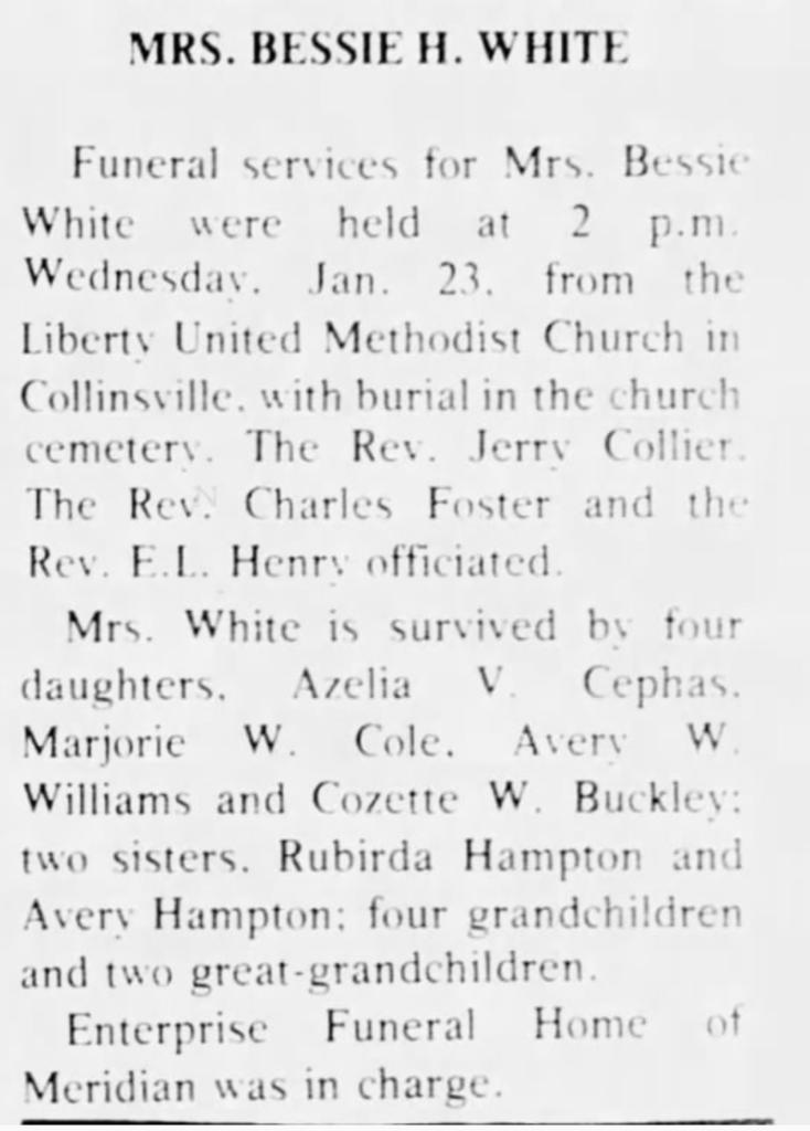 Bessie White Newton Record 2-6-1980