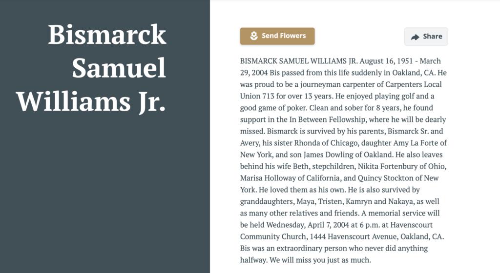 Bismark S. Williams, Jr Oakland Tribune 4-7-2004
