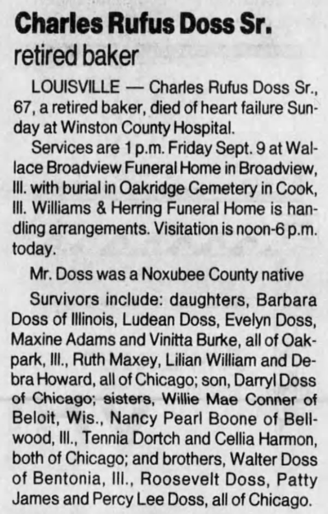 Charles Rufus Doss,SR -Husband of Tommie Woods 9-1995 Clarion-Ledger