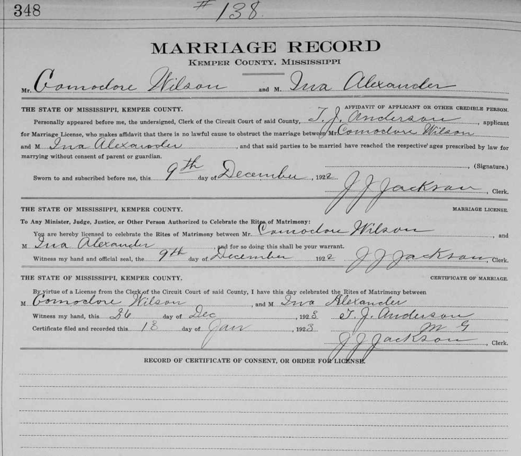 Commodore Wilson and Ina Alexander marriage