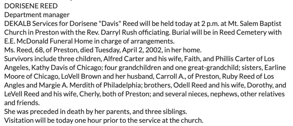 Dorisene Reed -Franklin County Times Alabama