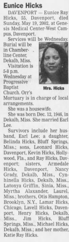 Eunice Hicks daughter of DOve lamar Hicks and Katie Ray Westerfield