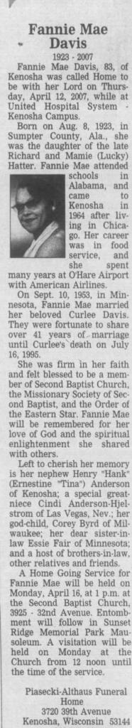 Fannie Mae, WIfe of Curlee Davis