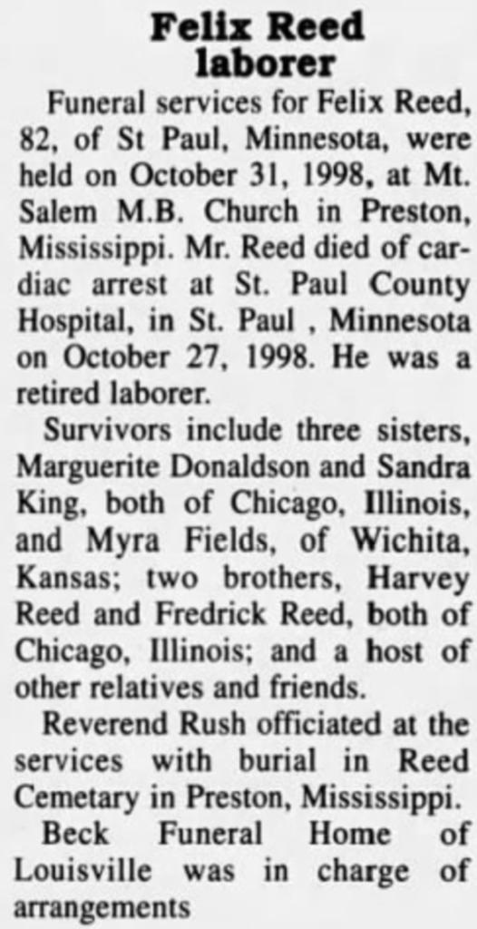 Felix Reed - Winston County Journal Nov 1998