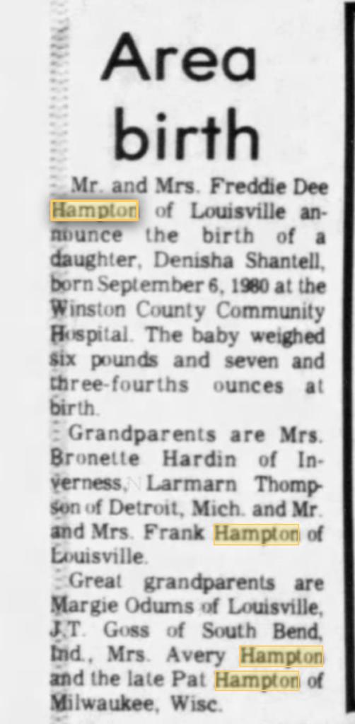 Frank Hampton's daughter