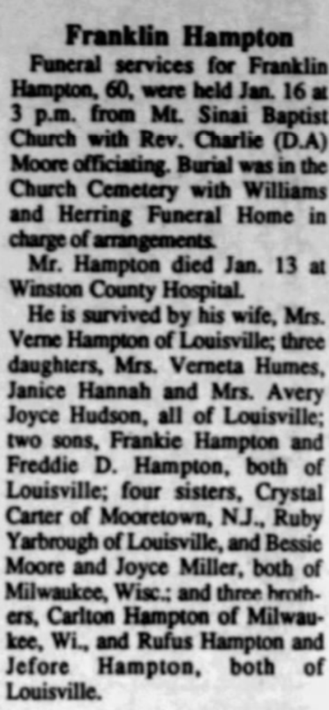 Franklin Hampton 1--20-1993 Winston County Journal