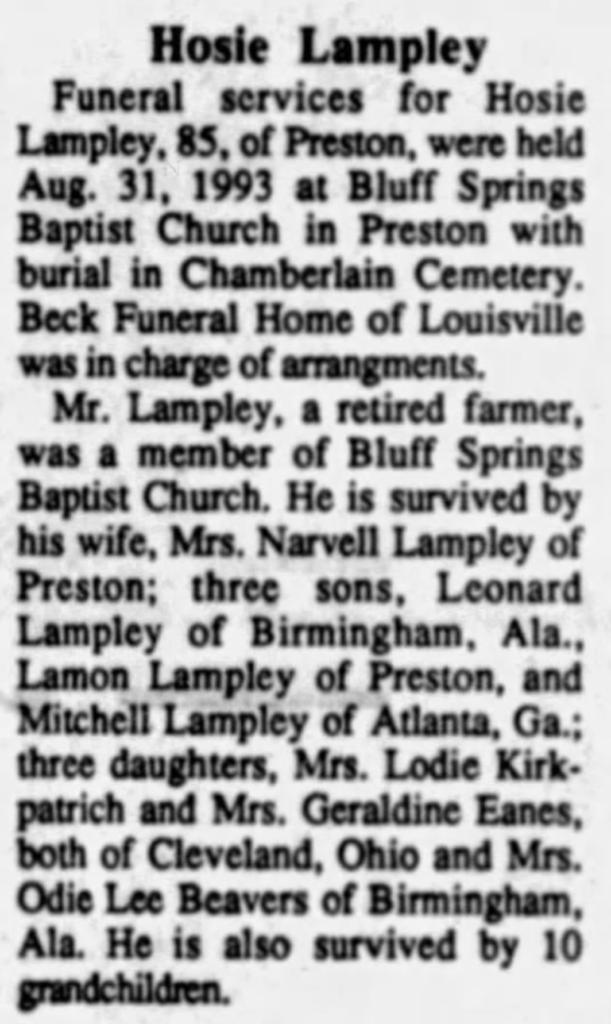 Hosie Lampley September of 1993