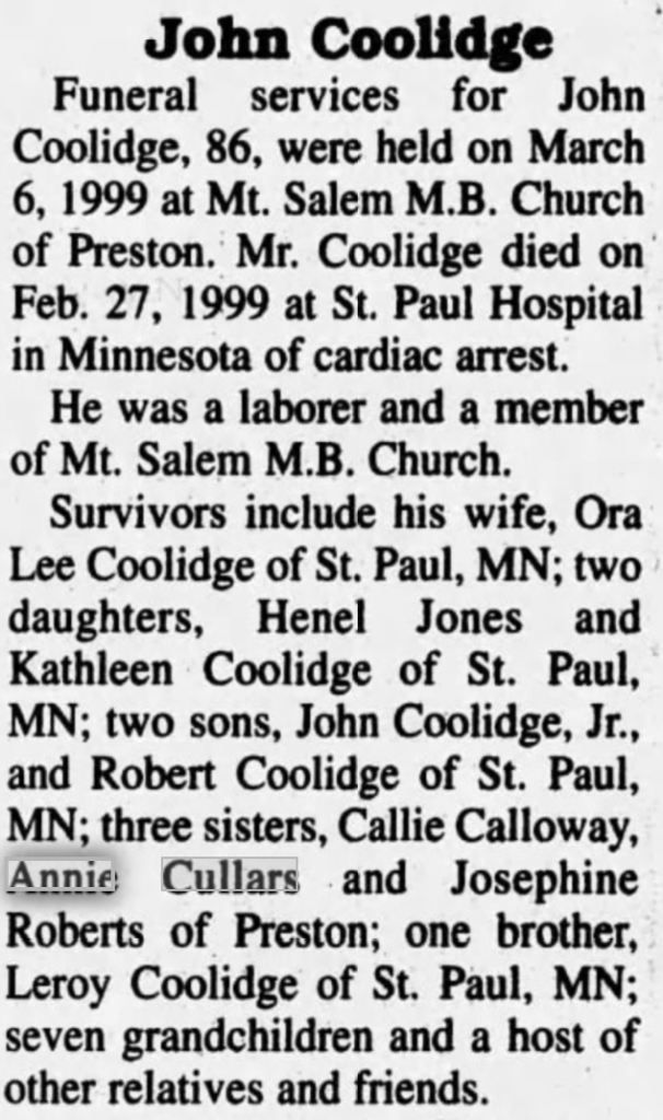 John Coolidge March 1999 Winston County Journal