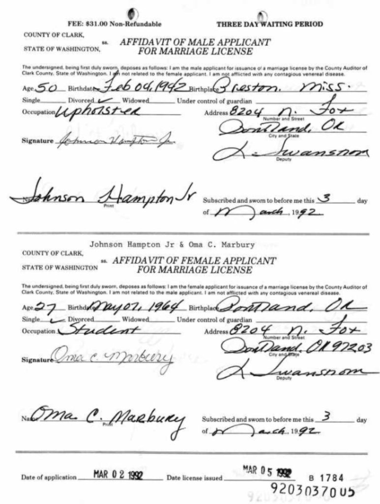Johnson Hampton Jr Marriage license