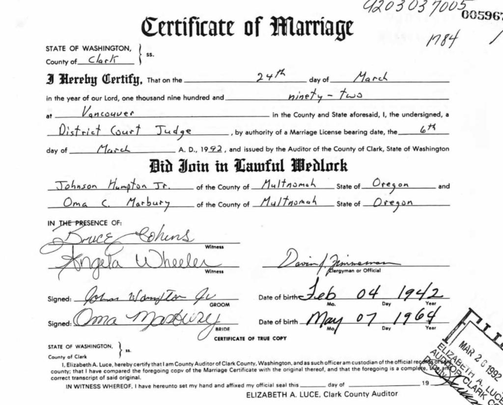 Johnson Hampton marriage