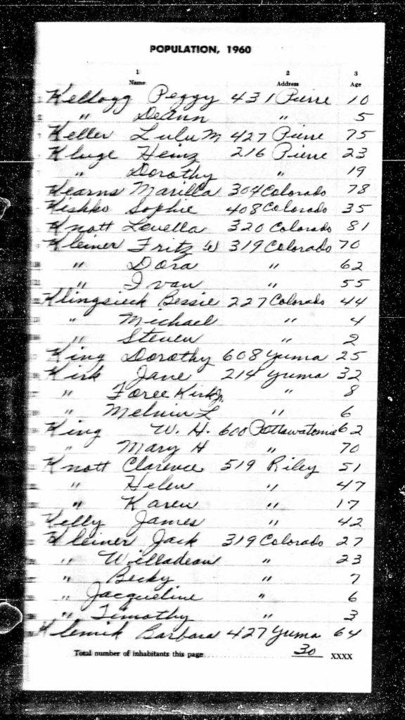 Kansas 1960 census Melvin and Foree Kirk Jr