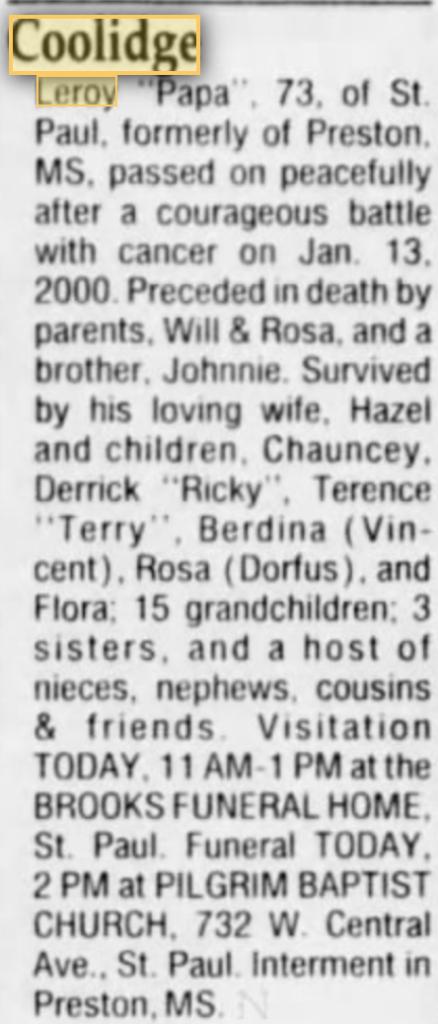 Leroy Coolidge- Star Tribune 2000