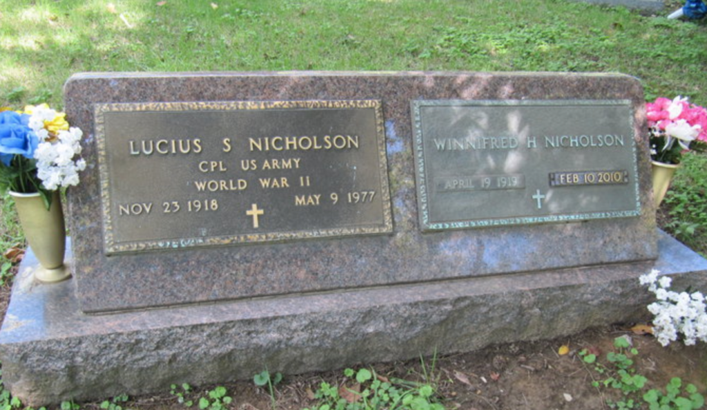 Lucius Nicholson gravestone