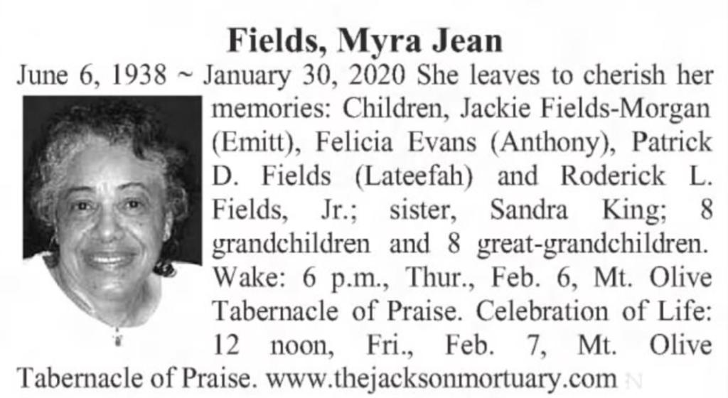 Myra Fields 2020 Wichita Eagle