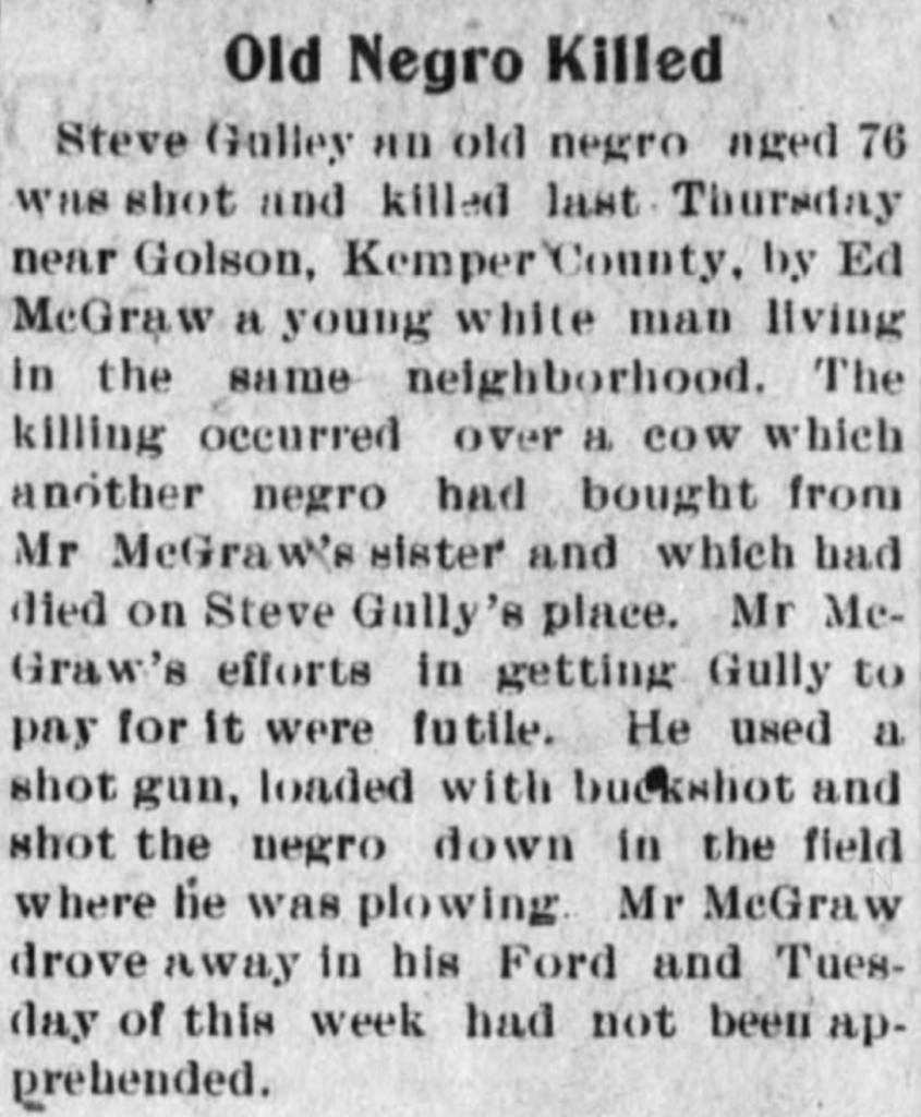 Neshoba Democrat April 1922 Steve Gully
