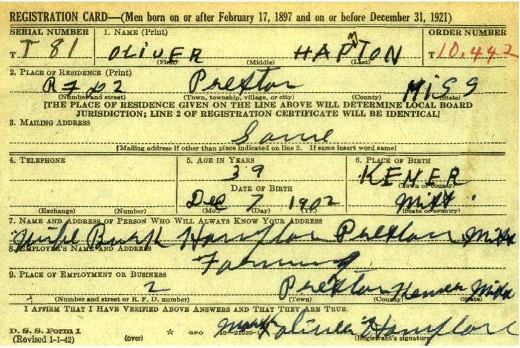 Oliver Hampton registration