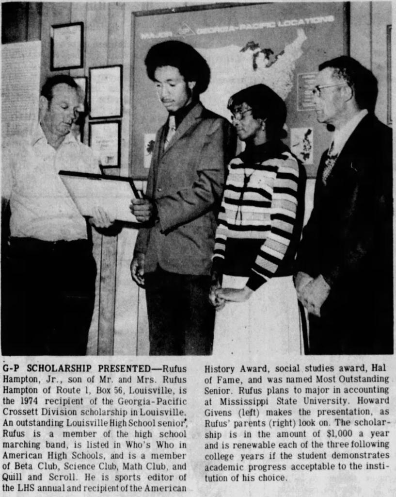 Rufus Hampton Jr Scholarship