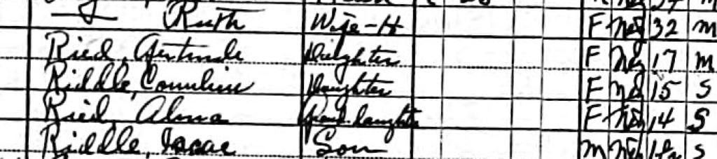 1930 census Gert Riddle Reid