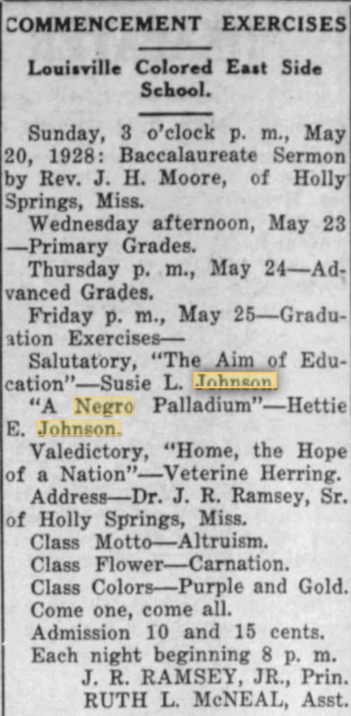 5-18-1928 Hettie E. Johnson and Susie L. Johnson