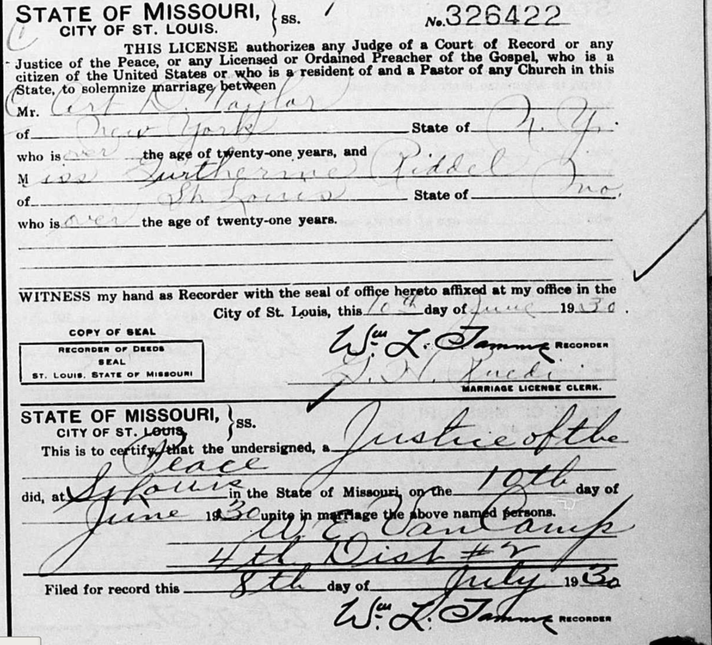 Art D. Taylor marriage to Gurtherine