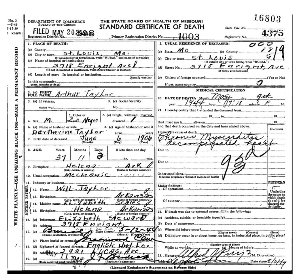 Arthur Taylor DC Gurtherine's husband