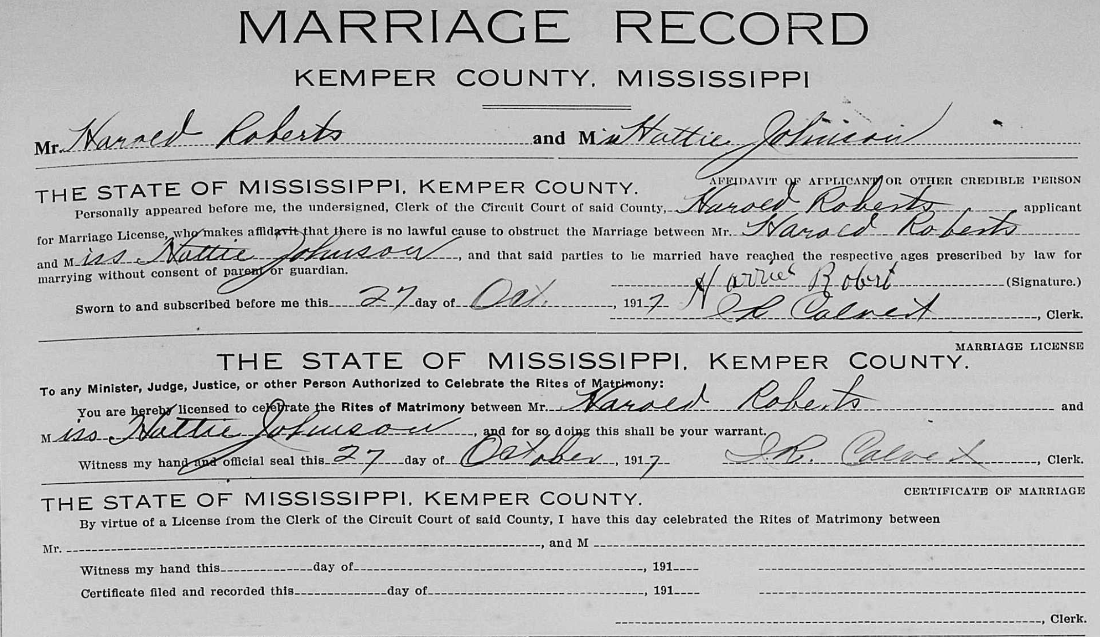 Hattie Roberts (Johnson ) 1917 marriage