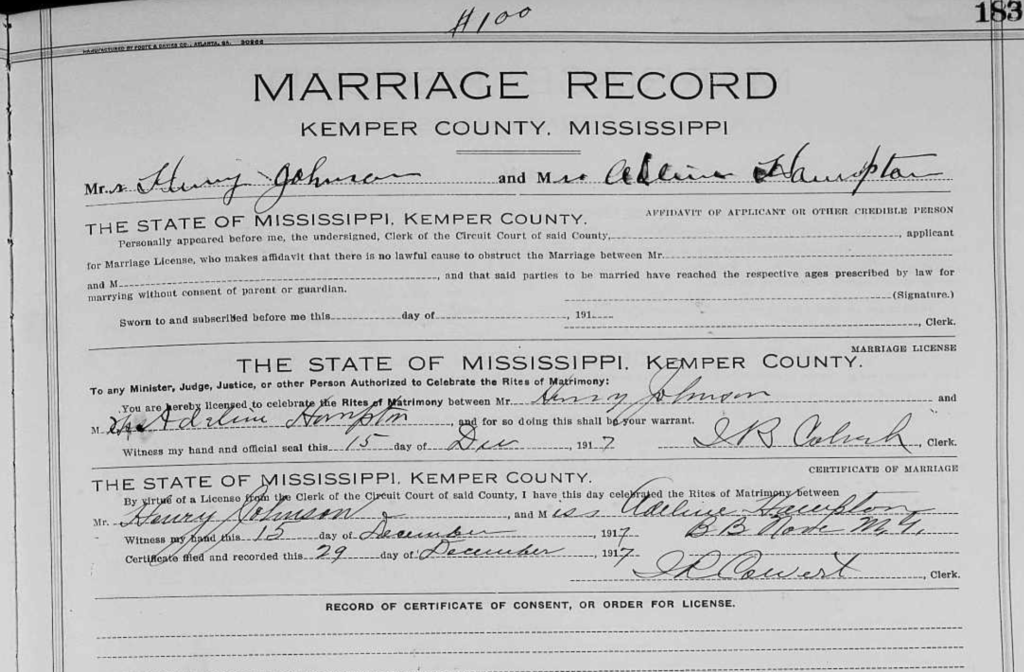 Marriage of Henry Johnson and Adeline Hampton 12-29-1917