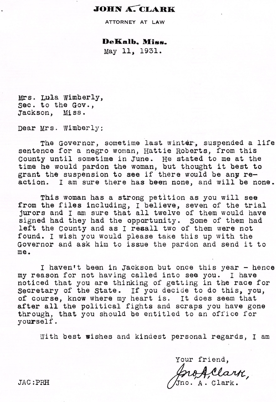John A. Clark asking for final issue. Pardon 5-11-1931