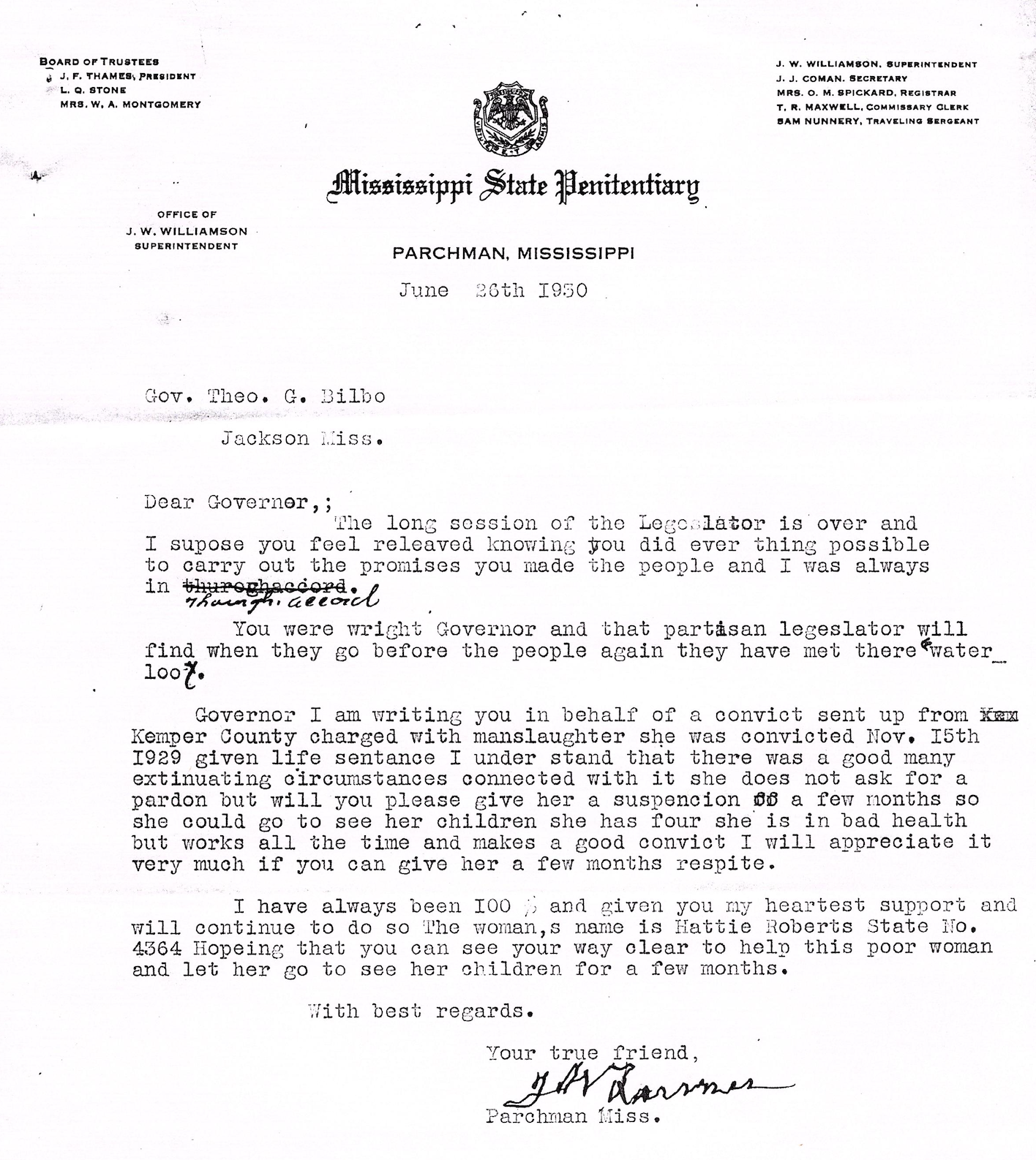 June 26, 1930 letter from Parchman to the Governor