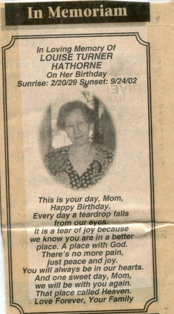 Louise Turner Hathorne Newspaper memorial